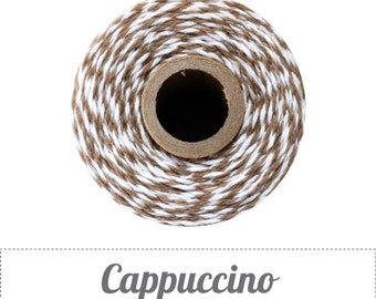 10 yards/ 9.144 m Cappuccino Brown and White Bakers Twine