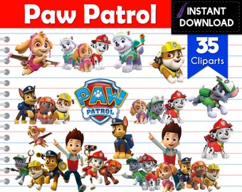 Instant Download - Paw Patrol Cliparts Transparent Background 35 PNG Chase Skye Everest Marshall Rocky Rubble Zuma Tracker- Digital File