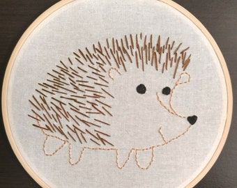 Hedgehog Hand Embroidered Hoop