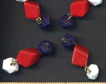 Red White and Blue Dangles of  Plastic Beads