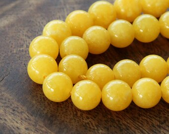 Mountain Jade Beads, Yellow, 8mm Round - 15 Inch Strand - eMJR-Y07-8
