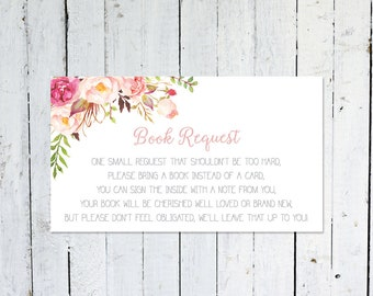 Bring A Book Instead Of A Card, Baby Shower, Boho, Bring A Book Insert, Printable, Instant Download, Books For Baby, Floral, Watercolor
