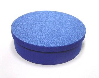 Blue round cloth covered box with a lid, jewelry box, cartonnage, fabric covered box, treasure box, keepsake, item storage