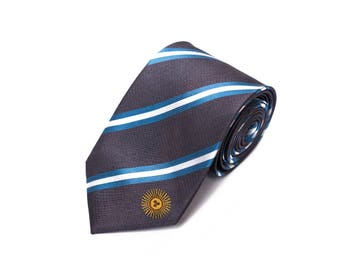Argentina Tie - Inspired by the Argentinian Flag with Personalized Tag. Argentina Necktie. LDS Missionary. Husband Gift, Missionary Gift.