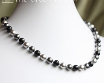 "17"" Swarovski Crystal Pearl Necklace in Silver  (Black, Charcoal and Grey)"