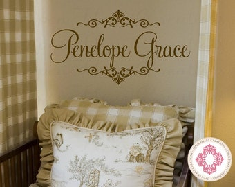 Shabby Chic Name Wall Decal with Elegant Accents - Baby Nursery Girl Boy Personalized Mongram Vinyl Wall Decal FN0364