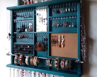 Jewelry holder. Large earrings display shelf. TURQUOISE jewelry storage. wall mounted earring holder. jewelry organizer. earrings storage.