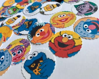 Sesame Street Confetti - 100 Pieces 1 Inch Scalloped Edges - Elmo Cookie Monster Party Confetti Cupcake Toppers