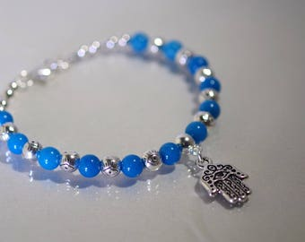 Evil Eye / Hamsa Bracelet - Mountain Jade - Made to Order - Several Colors