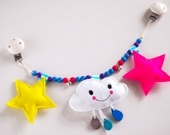 Stroller chain, cloud, felt, sewn with wooden pearls