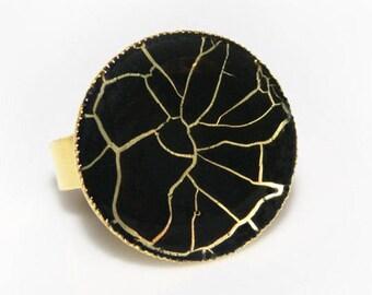 Black&gold gossamer ring, ring with black gossamer, black handpainted ring, web ring