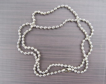 20pcs 24 inch stainless steel ball chain 2.4mm necklace with matching connector