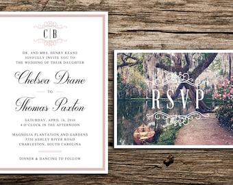 Southern Gardens Wedding Invitation // Charleston Garden Wedding Invites Southern Plantation Invitations Monogram Pink Cypress Live Oak
