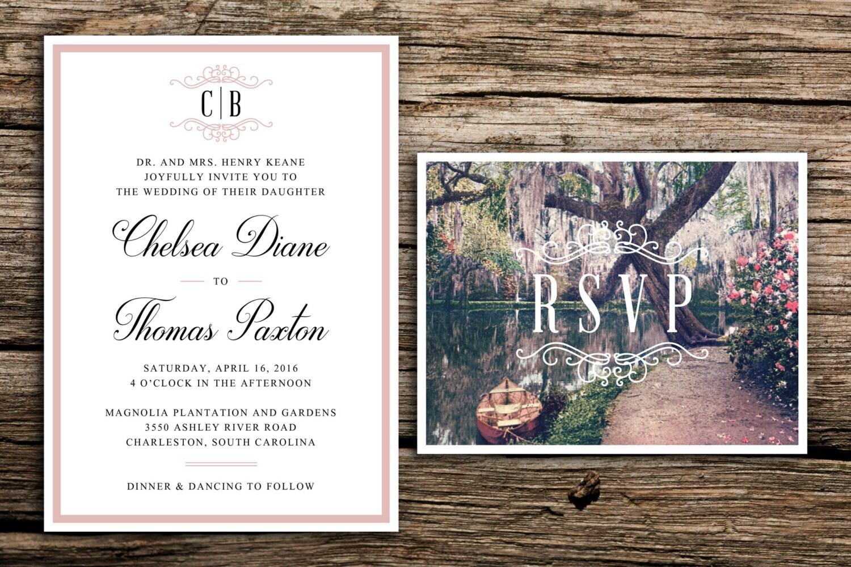 Southern Gardens Wedding Invitation // Charleston Garden