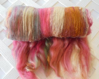 ENGLISH COUNTRY DANCE, Spinning Batt, Felting Batt, Luxury Art Batt, Soft Art Batt, Soft Wool Batt, Silk Roving, Silk Spinning Fiber, Knit