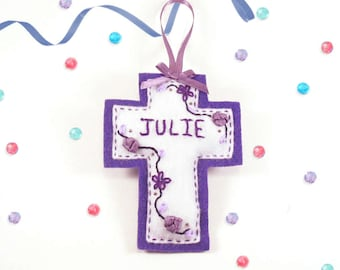 Personalized Cross Ornament, Communion Gift, Baptism Gift, Felt Ornament, Christian Gifts, New Baby Gift, First Christmas Ornament