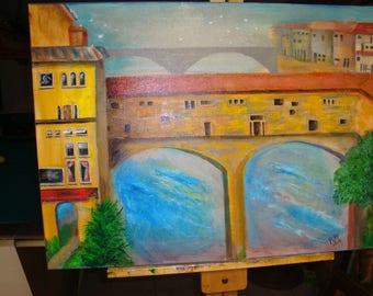 OLD WORLD BRIDGE acrylic painting