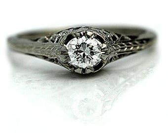 Vintage Diamond Engagement Ring Filigree Design 0.30ctw Diamond Solitaire Ring Filigree 18 Kt White Gold Diamond Wedding Ring Size 6!