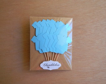 CLEARANCE. Blue Baby Bodysuit Cupcake Toppers.