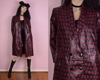 70s Printed Glossy Coat/ Small/ 1970s/ Jacket