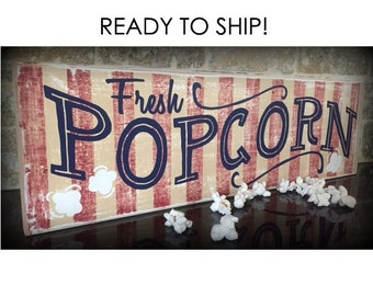 Fresh Popcorn Sign, Home Theater Sign, Popcorn Decor, Popcorn, Rustic Wood Sign, Vintage Popcorn Sign, Epsteam, Theater Sign