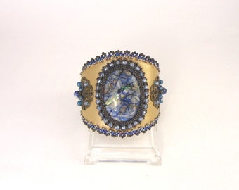 Bead Embroidery Bracelet with Azurite cabochon