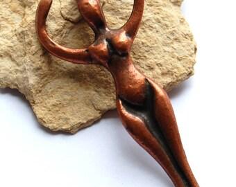 """Antique bronze copper ceramic pendant """"status of women"""""""