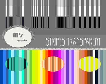 OVERLAY TRANSPARENT 12 Stripes Digital Paper + 40 Backgrounds. DIY