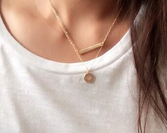 Disc pendant necklace with cz / starburst cz necklace