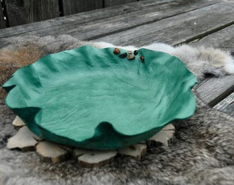 Turquoise leather bowl, Leather dish