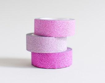Pink Glitter tape, Pink Glitter masking tape, Glitter tape, pink tape, pink washi tape, gold tape, silver tape, pink glitter tape