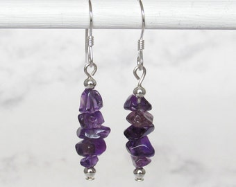 Amethyst Nugget Chip Dangle Earrings, Sterling Silver Beads, Sterling Silver Earwires - Metaphysical Jewelry