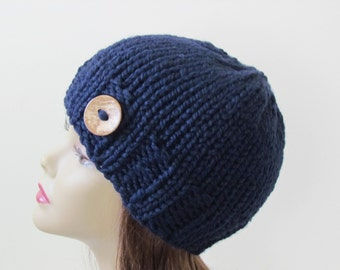 Chunky Knit Hat Winter Hat Chunky Knit Beanie Womens Hat Teens Hat - Navy with  Button Accent  - Ready to Ship - Gift for Her