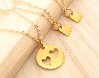 Gold Mother Daughter Necklace Set - Mother of Two 2 Daughters - Set of 3 Necklaces - Sisters Jewelry -Mothers Day Gift for Mom and Daughters