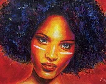 War Paint - Afro Art Print