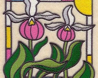 Stained Glass Orchid Embroidered Flour Sack Hand/Dish Towel
