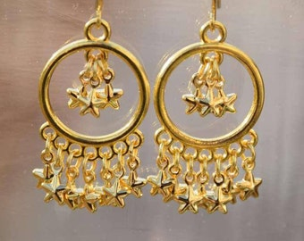 Shiny Star Chandeliers/Gold Earrings/Chandeliers/Stars