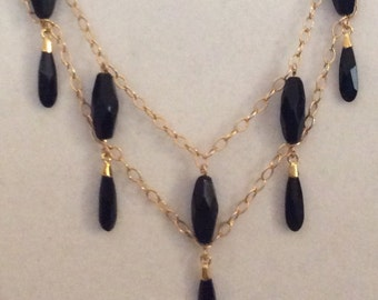 BUEATIFUL GOLD -FILLED Necklace Set with Swarovski Crystal and Faceted Onyx Beads