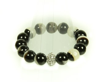 """Black and white agate gemstone stretch bracelet with """"bling"""" ball."""