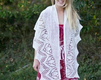 Tulpan - pattern lace shawl knitting wool flower feminine merino yarn