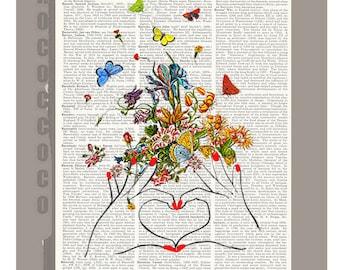 LOVE - Girl Power - ORIGINAL ARTWORK printed on Repurposed Vintage Dictionary page -Upcycled Book Print