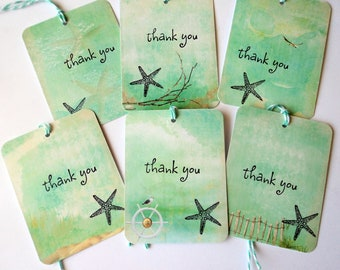 6 Mint Green Beach Scene Gift Tags, thank you starfish Beach Party Favor Tags, Merchandise Tags, Takuniquedesigns