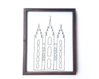 Salt Lake City Temple Embroidered