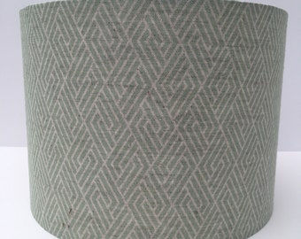 Handmade contemporary 'Vera' verde green geometric print on natural linen/cotton blend fabric drum lampshade