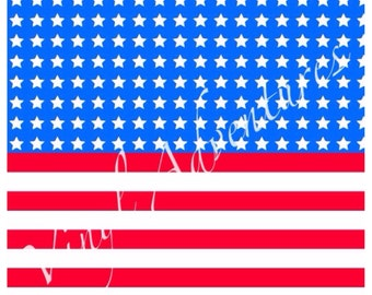 """4th of July, Vinyl, American Flag, Stars and Stripes, Patriotic, Patterned, Red White Blue, 12""""x12"""", Permanent Adhesive, USA, Printed"""
