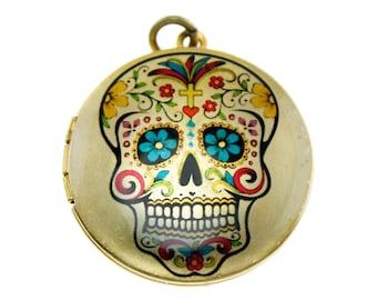 Photo Locket, Image Locket, Art Locket, Picture Locket, Brass Locket - SUGARSKULL - Day of the Dead