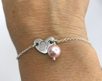 personalized valentines gift, initial and pearl bracelet