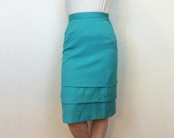 EXECUTIVE MERMAID - 80s Tiered Pencil Skirt - Turquoise Pencil Skirt - Teal Skirt - Knee Length Skirt - 80s Pencil Skirt - 28W Medium