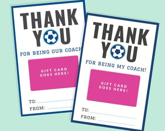 Printable Soccer Coach Thank You Gift - Printable Gift Card Holder - Instant Download - Printable 4x6 PDF - Blue Team