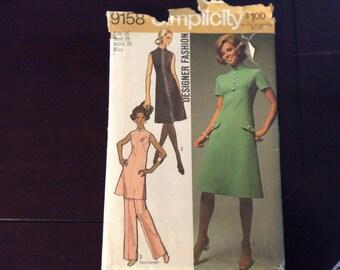 Vintage Simplicity dress/ Pant suit pattern 9158 Size 16